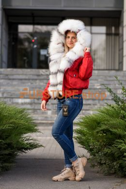 photographic Red short parka with fur of arctic fox in the women's fur clothing store https://furstore.shop