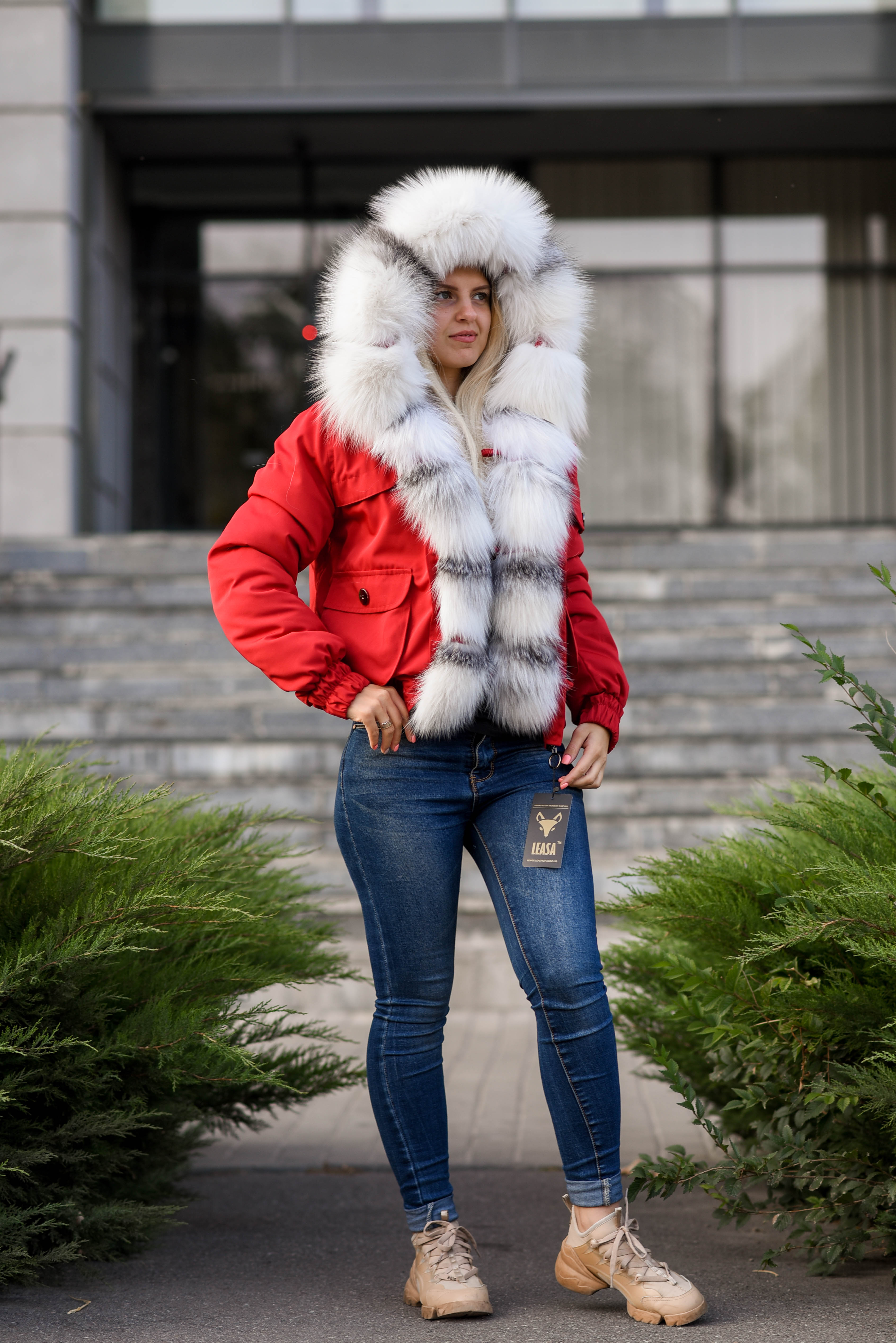 Red short parka with fur of arctic fox